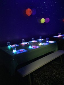 The lighting works best if you and your guests wear white or neon colors.