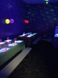 Come and check out our new glow party rooms with flashing laser beam and black lights